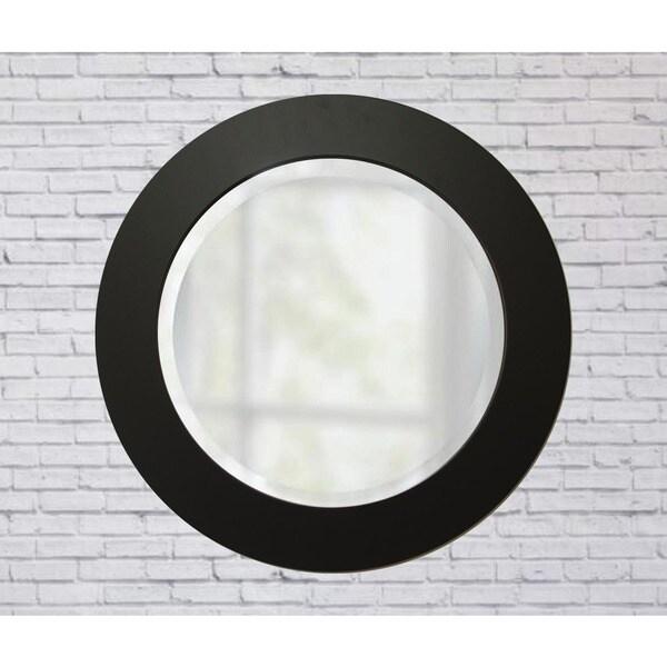 Beveled Brandtworks Matte Black 26 Inch Round Mirror