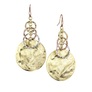 Isla Simone - 18 Karat Multi Plated Rustic Finish Circle Drop Earrings With Graduated Textured Links