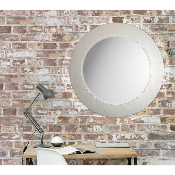 Shop Beveled Brushed Silver 26 Inch Round Wall Mirror