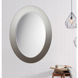 Silver Brushed Aluminum Oval Mirror