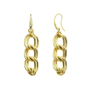 Isla Simone - 18 Karat Gold Electro Plated Yellow Double Twisted Link Hanging Earring