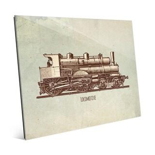 'Locomotive' Multicolored Glass Vintage-style Wall Art
