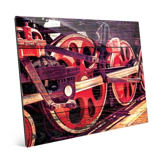 'Spinning Down the Tracks' Multicolor Glass Abstract Wall Art