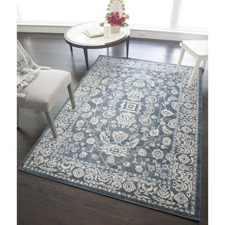 Hailey Blue/Ivory Polypropylene Power-Loomed Rug (63-inches x 90-inches)