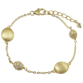 Luxiro Brushed Gold Finish Coins Pave Cubic Zirconia Bracelet
