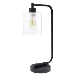 Simple Designs Bronson Black Iron Glass-shade Antique-style Industrial Lantern Desk Lamp
