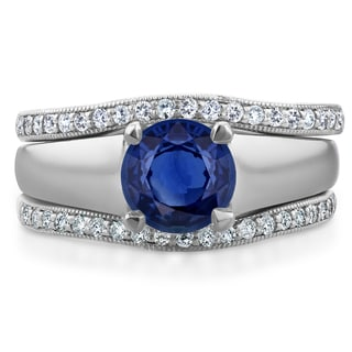 Annello by Kobelli 14k White Gold 6.5 MM Sapphire and 1/3ct TDW Double Diamond Wedding Bands Bridal