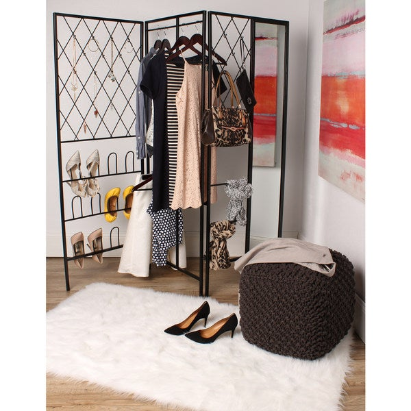 Kate and Laurel Tamworth Metal Freestanding Closet with Mirror and Shoe Rack