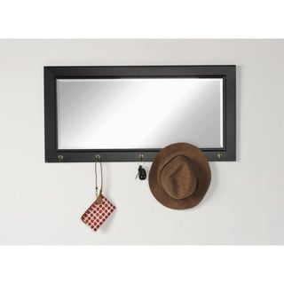 Designovation Black/White MDF and Glass Pub Wall Accent Mirror with 5 Metal Hooks