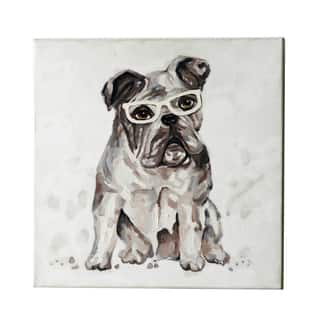 Jeco 20-inch Dog with Glasses Canvas Art