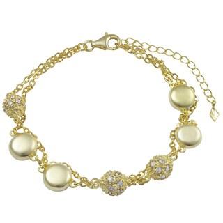 Luxiro Matte Gold Finish Coins Pave Cubic Zirconia Multi-strand Bracelet