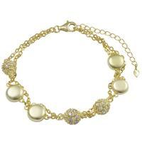 Luxiro Matte Gold Finish Coins Pave Cubic Zirconia Multi-strand Bracelet - White