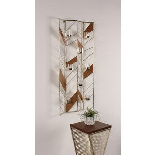 Elettra Metal and Wood Tea Light Candle Holder Wall Sconce