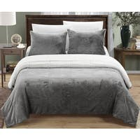 Chic Home Ernest 3-Piece Grey Sherpa Blanket and Sham Set