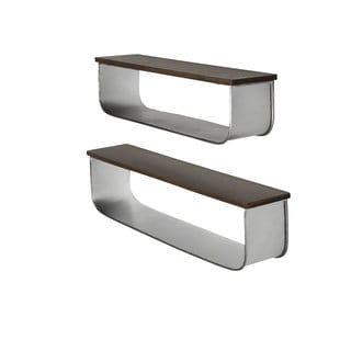 Kate and Laurel Thatcham Wood/Metal Floating Shelf (2-piece Set)