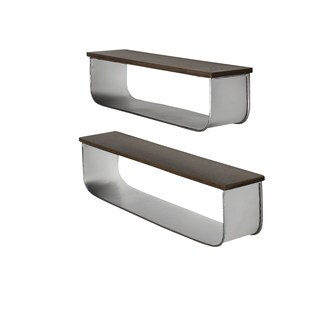 Kate and Laurel Thatcham Wood/Metal Floating Shelf (2-piece Set)