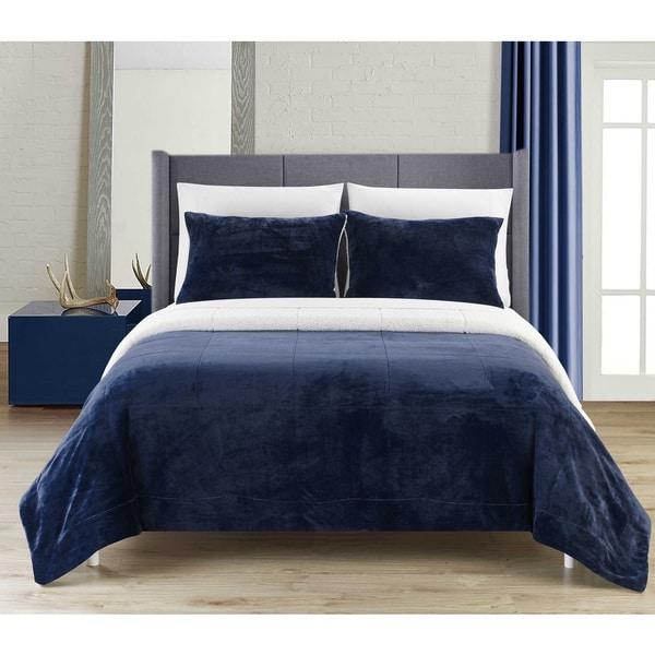 Chic Home Ernest 3-Piece Navy Sherpa Blanket