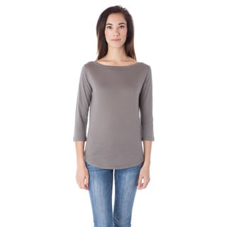 AtoZ Women's Fitted Blue/Grey/Yellow/Beige Cotton 3/4-sleeve Boat Neck Top