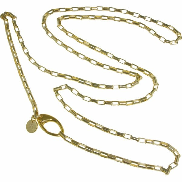 Isla Simone - 18 Karat Gold Plated Long Polished Anchor Link Chain Necklace