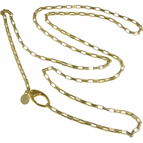 Isla Simone - Gold-Plated Long Polished Anchor Link Chain Necklace