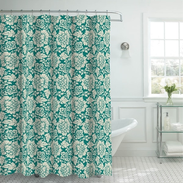 Creative Home Ideas Oxford Weave Textured Shower Curtain with Metal Roller Hooks