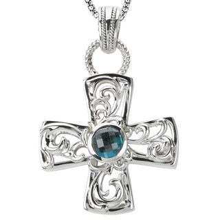 Avanti Sterling Silver Blue Topaz Cross Design Pendant Necklace