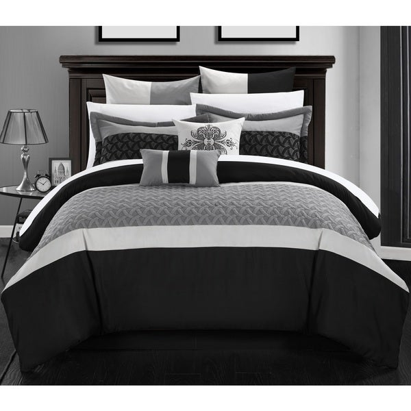 Chic Home Luana Bed-In-A-Bag Black Comforter 12 Piece Set