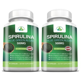 Non-GMO Spirulina 500mg Maximum Strength with Blue Green Algea Super Food