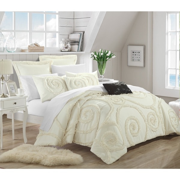 Chic Home Rosamond Bed-In-A-Bag Cream Comforter 7-Piece Set