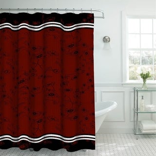 Creative Home Ideas Red and Black Oxford Weave Shower Curtain with Metal Roller Hooks