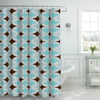 Creative Home Ideas Oxford Weave Textured 13-Piece Shower Curtain with Metal Roller Hooks in Avatar Aqua