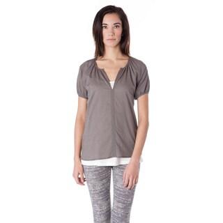 AtoZ Short Sleeve Cotton Voile Henley Blouse