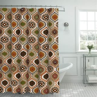 Creative Home Ideas Oxford Weave Textured 13 Piece Shower Curtain With Metal Roller Hooks