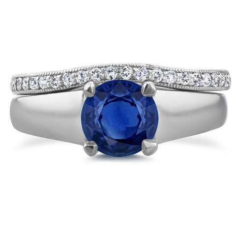 Annello by Kobelli 14k White Gold 6.5 MM Sapphire and 1/6ct TDW Diamond Wedding Band Bridal Set