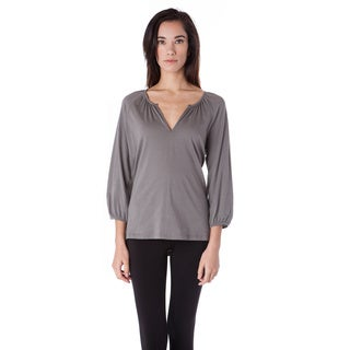 AtoZ 3/4 Sleeve Cotton Split V-neck Top