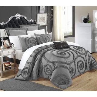 Chic Home Rosamond Bed-In-A-Bag Grey Comforter 7-Piece Set