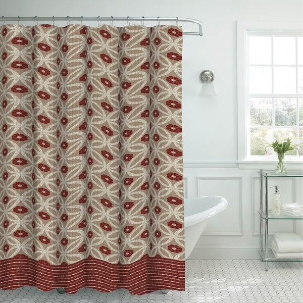 Creative Home Ideas Oxford Weave Textured 13-Piece Shower Curtain with Metal Roller Hooks in Hartford Barn/Linen