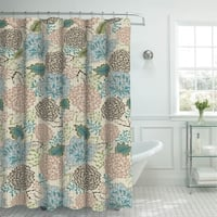 Creative Home Ideas Sonrie Berber Oxford Weave Shower Curtain with Metal Roller Hooks