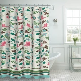 Creative Home Ideas Oxford Weave Textured 13-Piece Shower Curtain with Metal Roller Hooks in Fly Away Aqua