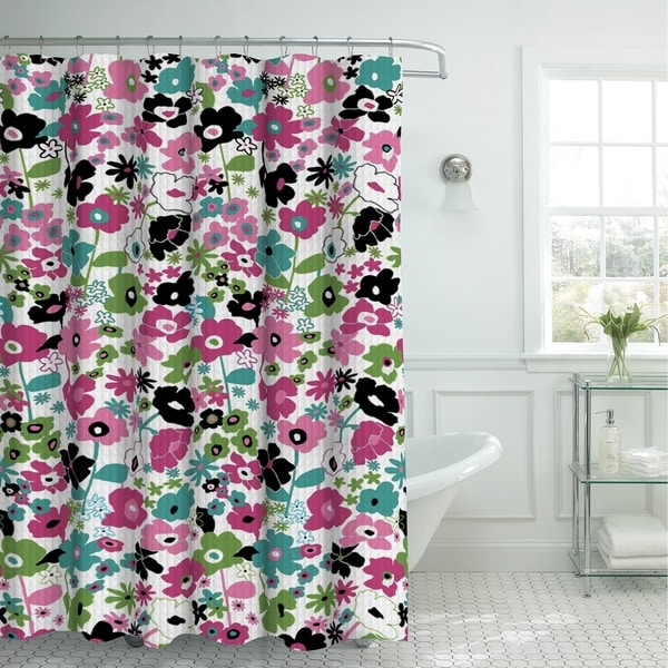 Creative Home Ideas Oxford Weave Textured 13-Piece Shower Curtain with Metal Roller Hooks