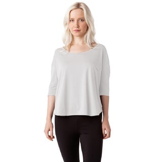 AtoZ Women's Women's White/Black/Grey Turkish Cotton 3/4-sleeve Loose Top with Pocket