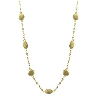 Luxiro Matte Gold Finish Sterling Silver Pave Cubic Zirconia Coin Necklace