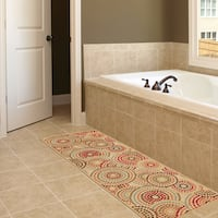Anne Collection Circles Design Beige Synthetic Non-skid Runner Rug (1'8 x 5'0) - 1'8 x 4'11