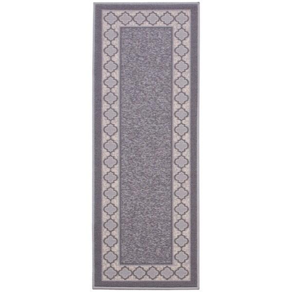 Anne Collection Moroccan Trellis Border Design Grey Non