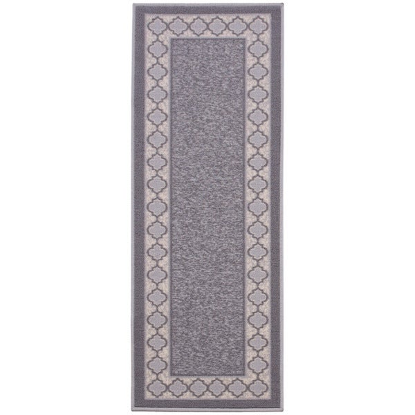 Anne Collection Grey Synthetic Moroccan Trellis Border
