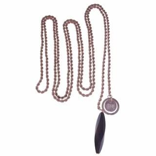 Isla Simone - 18 Karat Rose Gold Plated Extra Long Rope Link Necklace With Ebony Pendant