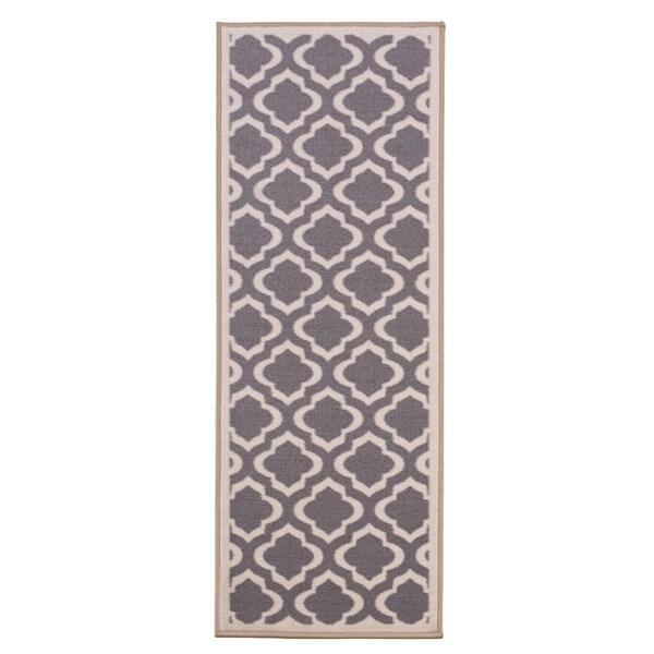 Anne Collection Moroccan Trellis Design Gray/Beige Modern