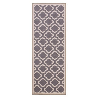 Anne Collection Grey/Beige Synthetic Moroccan Trellis Non-skid Runner Rug (2'2 x 6'0)