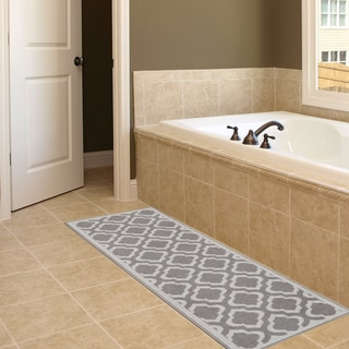 Anne Collection Moroccan Trellis Design Beige/Grey Synthetic Modern Nonskid Runner Rug (2'2 x 6')