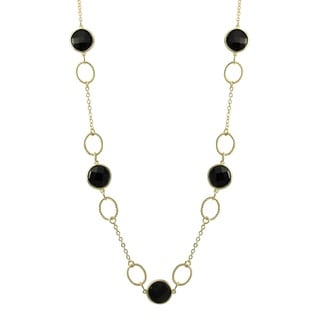 Luxiro Gold Finish Sterling Silver Black Cubic Zirconia Station Necklace